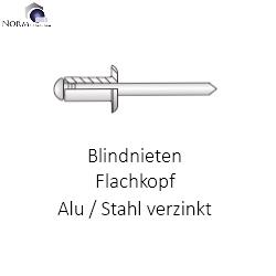 50 Stück  Blindnieten 6,0x8 Alu//Stahl Flachkopf     6x8mm Nieten bb