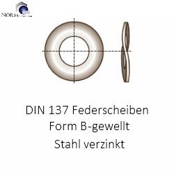 B16 DIN 137 Form B gewellte Federscheibe mechanisch verzinkte Federstahl M 16 B