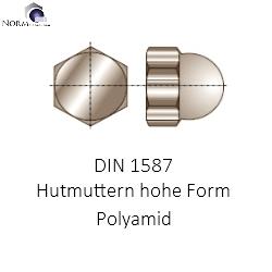 Polyamid hohe Form Sechskant-Hutmuttern DIN 1587 Kunststoff PA