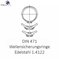Sicherungsring 34x1.5 DIN 471 f/ür Wellen aus Edelstahl V2A 1.4122 Seegerring A2 Federstahl Sprengring St/ückzahl 1