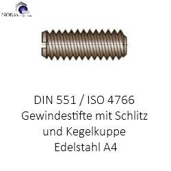 Gewindestifte mit Schliz und Kegelkuppe DIN 551 Edelstahl VA Madenschrauben M10