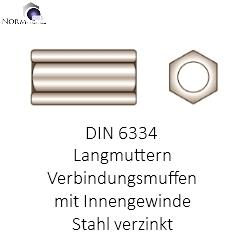 F00 Langmutter DIN6334 Verbindungsmuttern Gewindemuffen Distanzmuttern Muttern