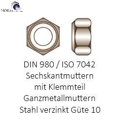 Festigkeit 8 VPE Stahl verzinkt DIN 980 Sicherungsmutter